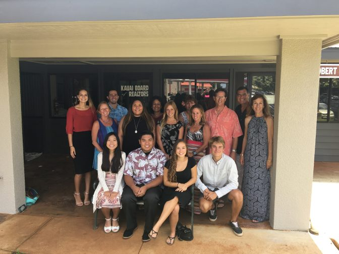 Group photo of KBR team outside of Kauai Board of Realtors office awarding 2016 scholarship awardee